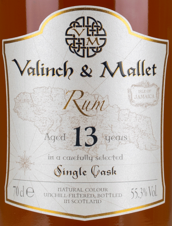 Jamaica WP 13 label Valinch & Mallet Pure Single Rum